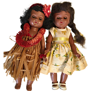 2 Vintage 1950s Black Ginny Type Hard Plastic African American Hawaiian Doll Original Clothes