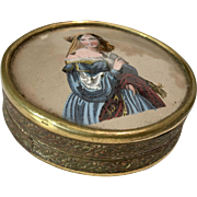 1800s Painted Glass Top Scenic Portrait Antique Box Doll Accessory