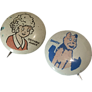2 Vintage 1945 Comic Pin Back Button Orphan Annie Sandy for Doll