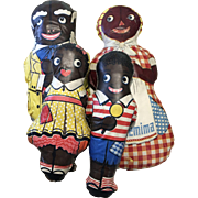 Set of 4 Vintage Oil Cloth Black African American Aunt Jemima Uncle Mose Diana Wade
