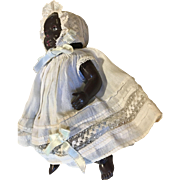 2 Piece Antique Doll Dress Bonnet on Black African American Celluloid Doll