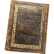 1919 Miniature Tempus Fugit Gorham Co. New York Silversmiths Goldsmiths Leather Doll Size Book Calendar Time Flies