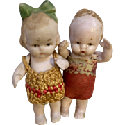 2 All Bisque Boy Girl German Doll Miniature Dollhouse