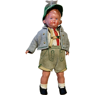 Vintage German Doll Clothes Boy Outfit Lederhosen Shorts Jacket Hat Shoes Socks
