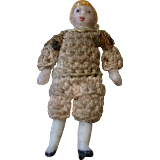 "1.5"" Tiny German All Bisque Doll Carl Horn Crochet Outfit Boy"