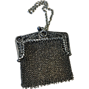 Antique German Metal Mesh Sterling Filigree Frame Doll Purse Chatelaine