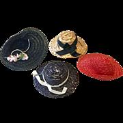 4 Vintage 1950s Doll Hat Bonnet for Ginny Muffie Alexanderkin Cissette