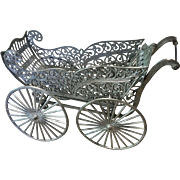 Antique Soft Metal Miniature Dollhouse Doll Baby Carriage