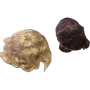 2 Mohair Wig Blonde Brunette for Antique Bisque Doll Head