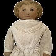 Antique Printed Cloth Doll Polka Dot Dress Art Fabric Mills 1900