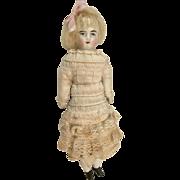 Adorable Antique Bisque Head Dollhouse Doll Lacy Dress