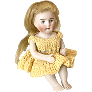 German All Bisque Bent Knee Antique Bare Foot Sitting Doll