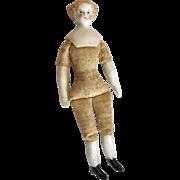 """4"""" Antique Bisque Miniature High Brow Parian Dollhouse Doll"""