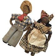 2 Vintage Cloth African American Black Doll Folk Art Pair