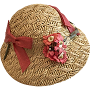 Excellent Vintage Straw Doll Hat