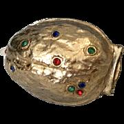 Rare Jeweled Walnut Thimble Holder Vintage Sewing
