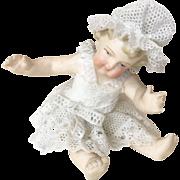 German All Bisque Antique Miniature Dresden Lace Doll Dollhouse Figure