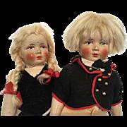 Adorable Pair German Bing Art Cloth Doll Boy Girl Set Antique All Original