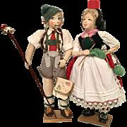Vintage German Cloth Artist Doll Pair All Original with Paperwork Boy Lederhosen Girl Knitting
