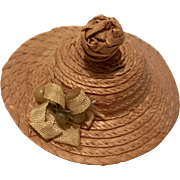 Excellent Antique Straw Doll Hat