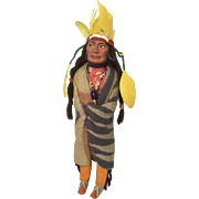 Skookum Native American Indian Chief Vintage Doll with Feather Headdress Label on Wood Feet
