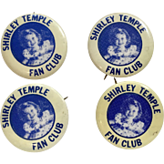 4 Shirley Temple Fan Club Button Pin for Doll