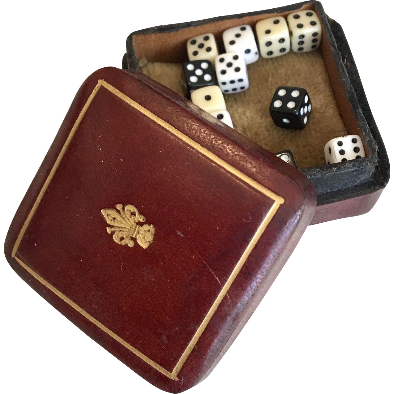 Miniature Fleur-de-lis Leather Box with 12 Tiny Dice for French Fashion Doll Accessory