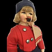 Vintage Cloth Smoker Boy Doll Tagged Italy All Original Felt Clothes