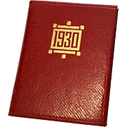 1930 Red Leather Miniature Doll Book Advertising Calendar