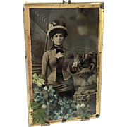 Antique Miniature Dollhouse Doll Size Easel Back Picture Photo Frame Fashion Lady