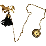 French Doll Faux Watch on Chain Pin Tassel Paris