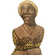 Early Cloth Black African American Aunt Jemima Antique Printed Cloth Stuffed Doll