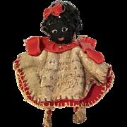 Early Black Cloth Doll Pen Wipe African American Antique Folk Art Wishbone Doll