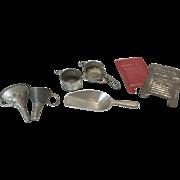 7 Piece Antique Miniature Metal German Dollhouse Kitchen Tools