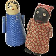 2 All Wood Ramp Walker Doll White & Black Vintage Toy Walker