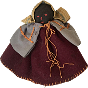 Antique African American Black Doll Pen Wipe Cloth Wishbone Doll