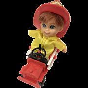 Vintage Mattel Liddle Kiddle Fireman Boy Doll with Firetruck