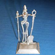 German Soft Metal Dollhouse Doll Miniature 4 Pc. Fireplace Tool Set Stand