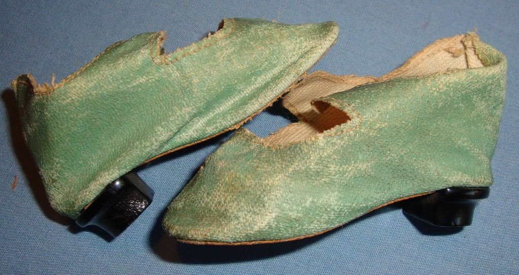 Green Doll Shoes with Heels for Antique Bisque Doll