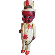 "Charming Antique 7 l/2"" All Celluloid Black Carnival Man, circa 1920"