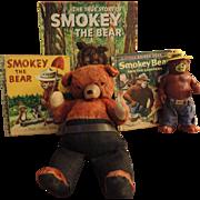 Smokey Bear Group, 3 Golden Books, 2 Bears - Plush & Dakin Rubber