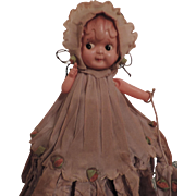 Crepe Paper Dressed  Celluloid Carnival Doll