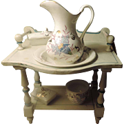 Doll Size Wash Stand & Hand Painted Accessories