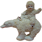 All-Bisque Action Figure Snow Baby Riding a Snow Bear