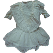 Vintage White Cotton Drop Waist Style Dress for 20-22 In. German or French Child Doll