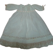 Antique Lawn Doll Dress, Insertion Lace, Tucks, Silk Ribbon