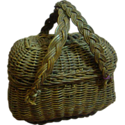 Antique Straw Basket with Attached Lid and Handles