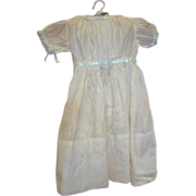 Antique Ecru Cotton Dress for Wax, Paper Mache, or Bisque Head Doll