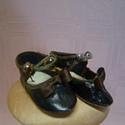 Antique Sz 3 French Bebe Doll Shoes, Excellent Condition!