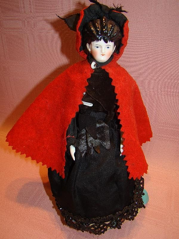 Antique China Doll as a Fortune Teller, Rare Hairdo with Stippling
